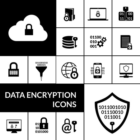 encryption icon: Electronic data transfer security encryption symbols icons composition banner with padlock shield and cloud black abstract vector illustration