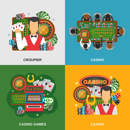 casino machine: Casino concept icons set with croupier and casino games symbols flat isolated vector illustration