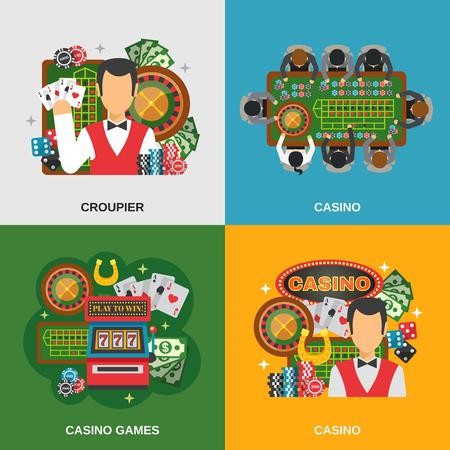 slot machines: Iconos del concepto Casino establecidos con croupier de casino y juegos de símbolos plana aislado ilustración vectorial Vectores