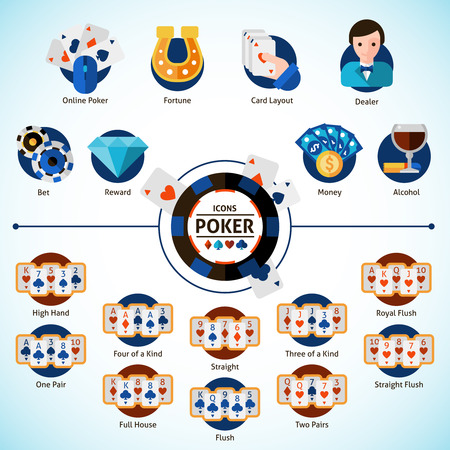 gambling game: Poker game and gambling decorative icons set  isolated vector illustration