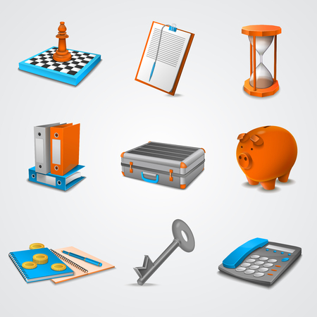 bank book: Business realistic icons set with 3d chessboard folders piggy bank isolated vector illustration