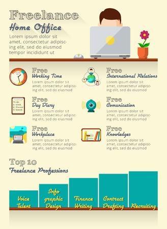 freelance: Freelance infographics set with home office statistic elements vector illustration Illustration