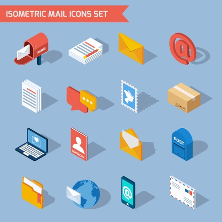 correo electronico: mail iconos isométricos fijados con el correo electrónico del buzón 3d del sobre de ilustración vectorial aislado