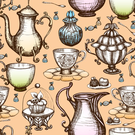 nostalgia: Vintage tea seamless pattern with hand drawn pots and cups vector illustration