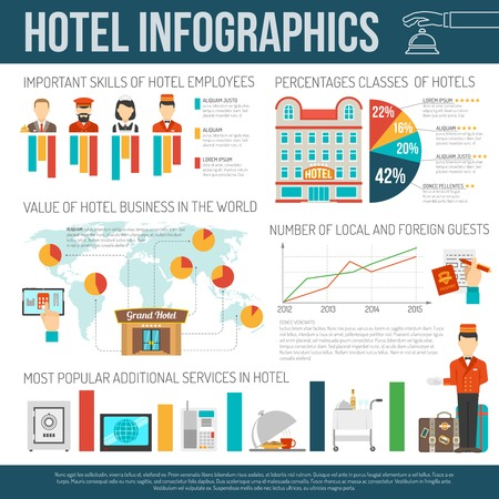 hotel staff: Hotel infographics set with staff and customers symbols and charts vector illustration