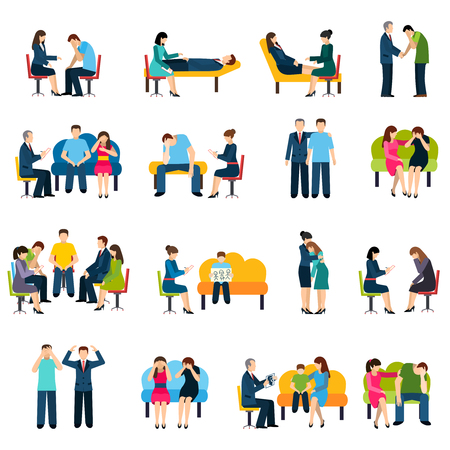 terapia psicologica: Asesoramiento y apoyo grupal Psicólogo para los trastornos relacionados con el estrés laboral iconos planos conjunto aislado abstracta ilustración vectorial
