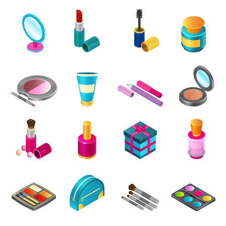 palette: Cosmetics and make-up products icons set with isometric beauty and skin care bottles isolated vector illustration Illustration