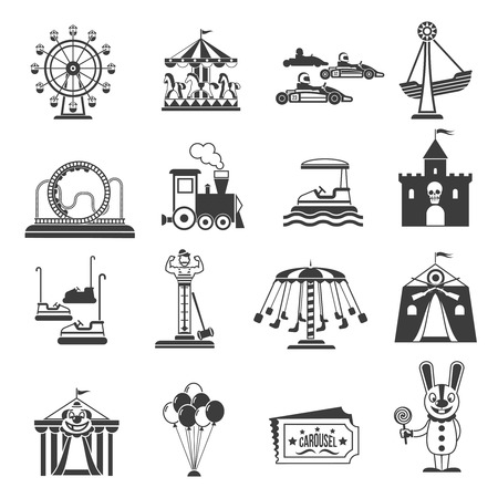 rollercoaster: Amusement park icons black set with ferries wheel and rollercoaster symbols isolated vector illustration