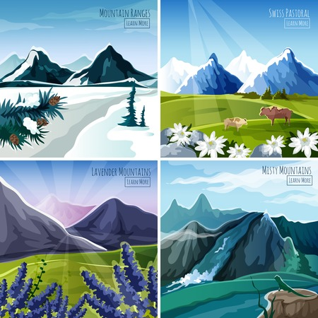 winter forest: Mountain landscapes design concept set with flowers and animals icons isolated vector illustration