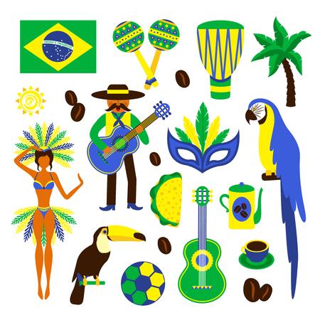 Brazilië decoratieve pictogrammen die met geïsoleerde voetbal carnaval koffie papegaai vector illustratie Stock Illustratie