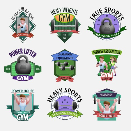 heavy set: Emblems set presenting heavy weights fitness with power lifters sportsmen barbells and dumbbells cartoon isolated vector illustration
