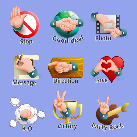 handful: Emblems set of different web social network elements with hand gestures on it cartoon isolated vector illustration Illustration