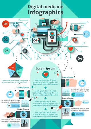 levels: Digital medicine infographics set with mobile health monitoring symbols and charts vector illustration Illustration