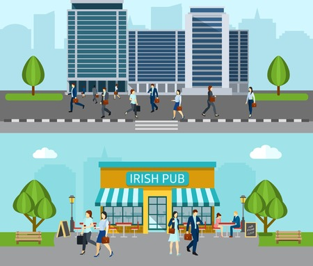 outdoor advertising: People go to work horizontal banner with business office building isolated vector illustration