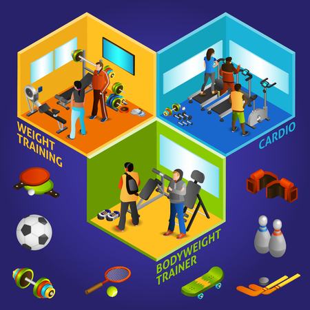 brassy: Sports equipment cardio and weight training and bodyweight trainer with athletes isometric vector illustration