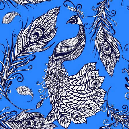 art product: Decorative stylized peacock birds and feathers seamless tileable art pattern with blue background doodle abstract vector illustration