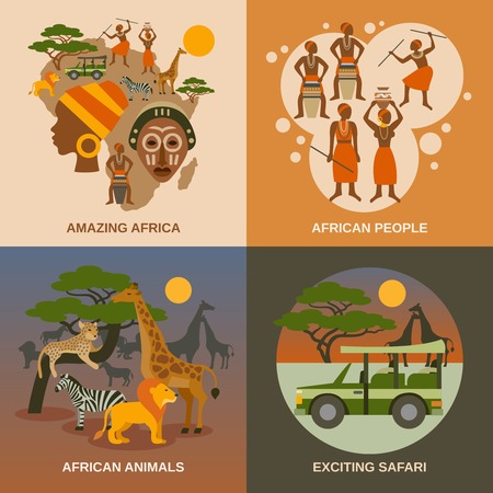 africa people: Africa concept icons set with african people animals and safari symbols flat isolated vector illustration Illustration