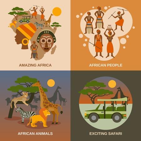 animales safari: Iconos del concepto de Africa se establece con la gente animales africanos y los símbolos de safari ilustración vectorial aislado plana