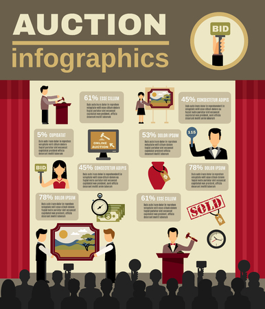 auction: Auction infographic set with bidding and money symbols flat vector illustration