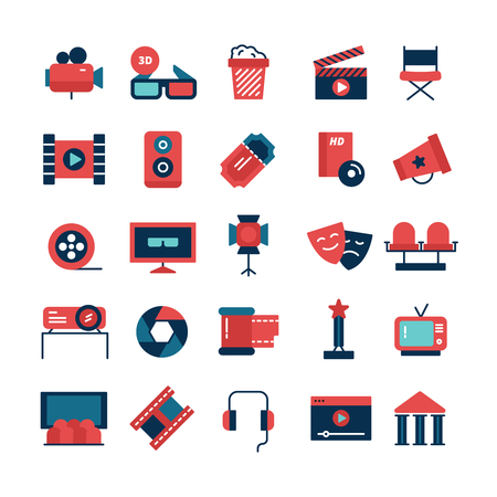 icons set: Flat color set of movie icons and cinema symbols with camcorder TV screen 3D glasses and filming attributes isolated vector illustration Illustration