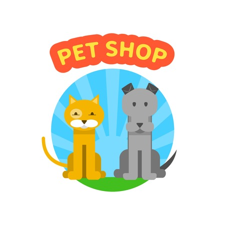 pet cat: Pet shop  with sitting dog and cat flat vector illustration