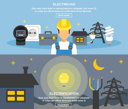 electricity export: Electricity and power horizontal banners set with electrification symbols flat isolated vector illustration Illustration