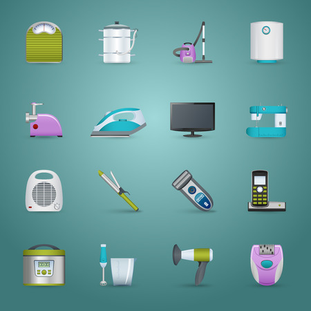 meat chopper: Home appliances realistic icons set with iron heater and vacuum cleaner isolated vector illustration Illustration