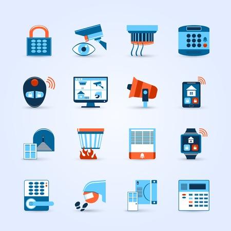 seguro social: Iconos de seguridad Inicio establecidos con alarma y c�maras s�mbolos plana aislado ilustraci�n vectorial