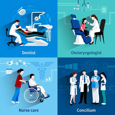 Les médecins spécialistes concilium 4 icônes plates composition carré avec un dentiste et une infirmière de soins abstraite isolé illustration vectorielle Vecteurs