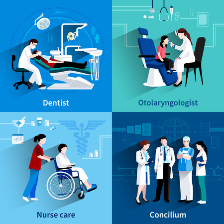 throat: Medical specialists concilium 4 flat icons square composition with dentist and nurse care abstract isolated vector illustration