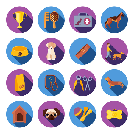 slant: Dogs with food veterinary kit and accessories flat round with slant shadow icons set vector isolated illustration Illustration
