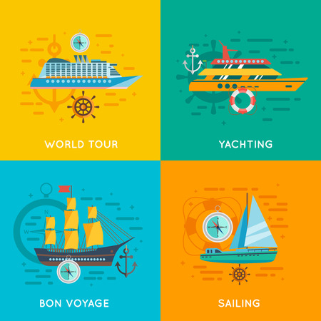 ocean liner: Ocean liner world cruise and yacht club sailing 4 flat icons square banner abstract isolated vector illustration Illustration