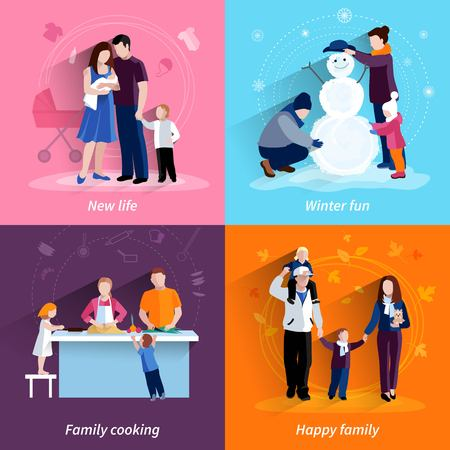 habits: Happy family 4 flat icons square composition banner with cooking and newborn baby abstract isolated vector illustration