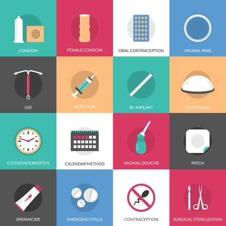female sex: Contraception methods square icons set with calendar injection and oral contraception symbols flat isolated vector illustration Illustration