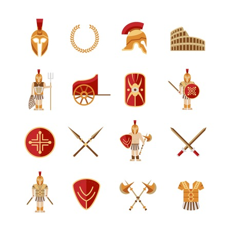 spear: Gladiator and greek antiquity warriors icons set isolated vector illustration