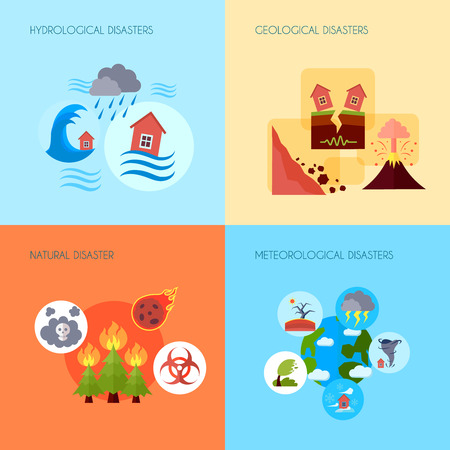 volcanic: Floods volcanic eruptions and earthquake geological natural disasters 4 flat icons square banner abstract isolated vector illustration Illustration