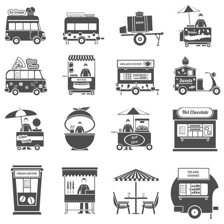 fresh pop corn: Street food black white icons set with pop corn fresh juice and sweets symbols flat isolated vector illustration Illustration