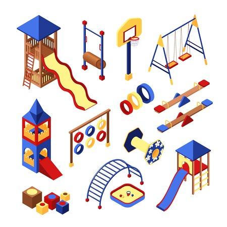 niños en recreo: Iconos conjunto de diferentes equipos del patio de colores y construcciones aisladas ilustración isométrica del vector 3d