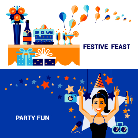 feast: Horizontal celebration banners with items of festive feast  fun party elements and smiling girl vector illustration Illustration