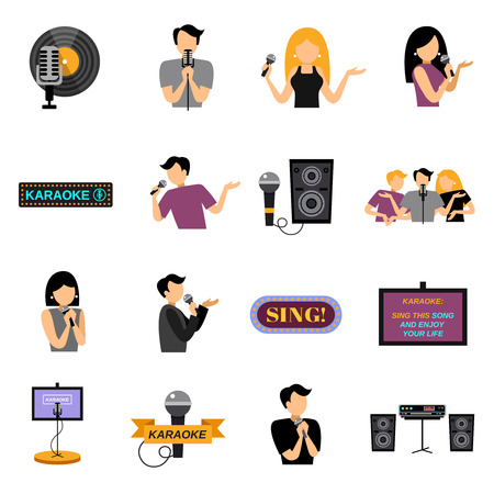 computer clubs: Karaoke flat icons set with people and microphones isolated vector illustration