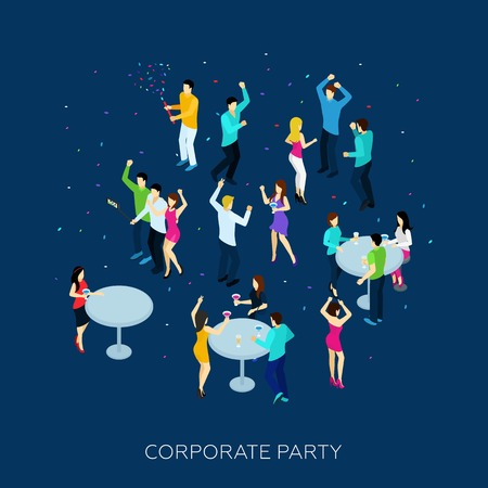 corporate people: Corporate party concept with isometric people drinking and dancing vector illustration