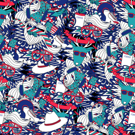 decorative accessories: Hipster lifestyle fashion clothing and accessories decorative seamless tileable blue and red pattern abstract vector illustration