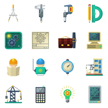 civil construction: Civil engineer working tools and buildings construction crane machinery equipment flat icons set abstract vector isolated illustration Illustration