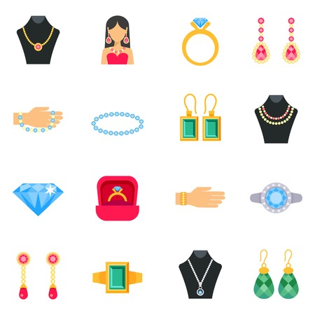 bracelets: Jewelry icons set with earrings rings and bracelets flat isolated vector illustration Illustration