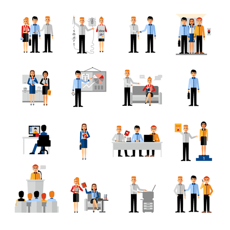 woman working: Business people workplace flat icons set with coworkers in auditorium conference hall and at desk isolated vector illustration