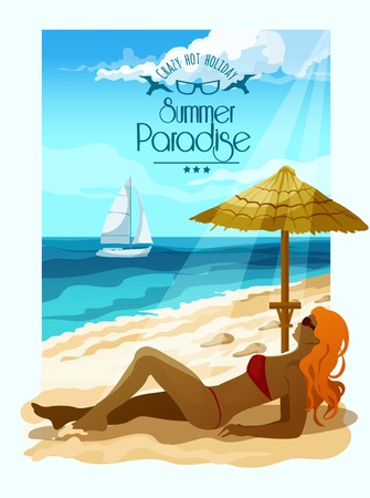 sun tanning: Seascape poster with woman on beach sand and sailing boat on background vector illustration
