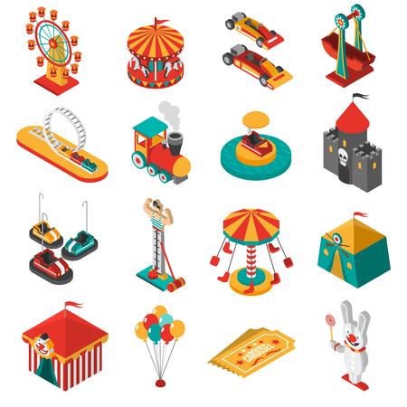 Podróżujący rozrywki zaparkować izometryczny ikony kolekcji z koła obserwacyjnego Ferris i namiot cyrkowy streszczenie ilustracji wektorowych odizolowane
