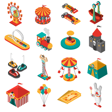observation wheel: Travelling amusements park isometric icons collection with ferris observation wheel and circus tent abstract isolated vector illustration