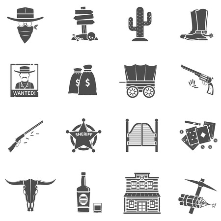 boots: Cowboy black icons set with boots money bag playing cards isolated vector illustration Illustration