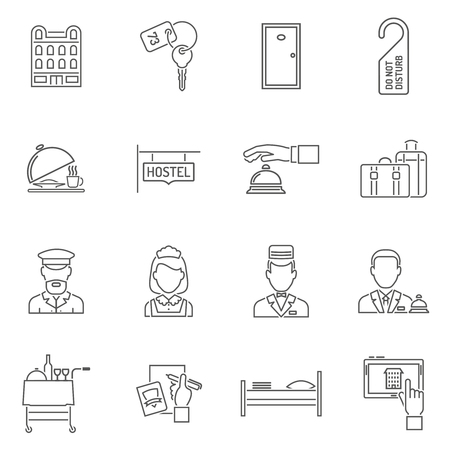 hotel staff: Hotel icons line set with tourism staff isolated vector illustration Illustration